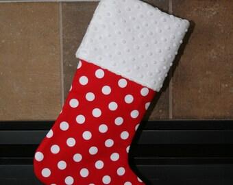 CHRISTMAS STOCKING - Polka Dots on Red Christmas Stocking