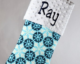 Blue Christmas Personalized Stocking | Christmas Stocking Navy | Christmas Stocking Dad | Stocking Grandpa | Boys Stocking | Snowflakes