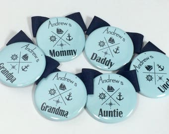 Nautical Baby Shower Name Tags, Baby shower Name Tags, Sailboat Baby Shower, Place Card Name Tag Buttons