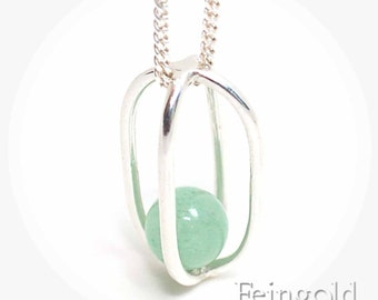 Gravity Collection: Sterling Silver Necklace with Floating Aventurine - Sterling Silver 18 Inch Chain- Free US Shipping