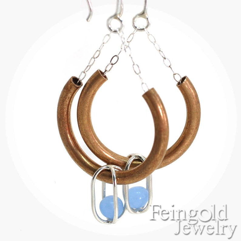 Drip Drop  Brass Curve Earrings Sterling Silver with Floating image 0
