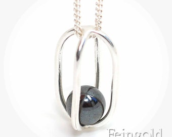 Gravity Collection: Sterling Silver Necklace with Floating Hematite - Sterling Silver 18 Inch Chain- Free US Shipping