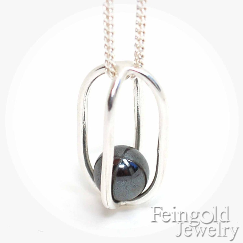 Gravity Collection: Sterling Silver Necklace with Floating image 0