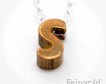 Tiny S Necklace - Letter - Initial Pendant - Vintage Brass Letter on Sterling Silver Chain - Free US Shipping