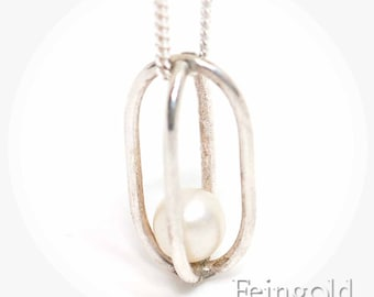 Gravity Collection: Sterling Silver Necklace with Floating Pearl - Sterling Silver 18 Inch Chain- Free US Shipping