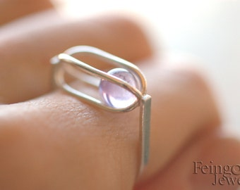 Gravity Collection: Sterling Silver Ring with Floating Amethyst