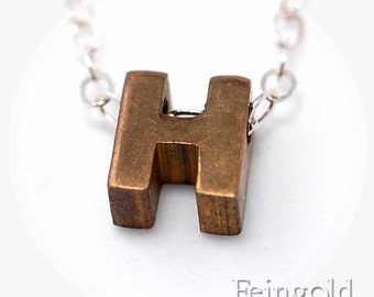 Letter H - Tiny Initial Pendant - Vintage Brass Necklace on Sterling Silver Chain - Free US Shipping
