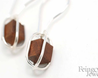 Sterling Silver Earrings with Floating Wood Cubes - Free US Shipping
