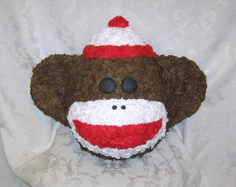 MADE TO ORDER - Brown Sock Monkey Pinata - Traditional or 20 Pull Strings