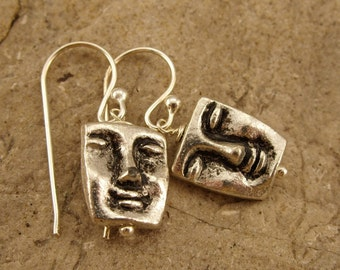 Earrings - Pewter Faces