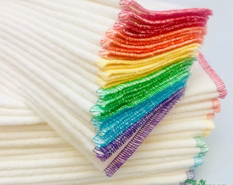 "12 Organic 8"" hemp fleece wipes - cloth baby diaper wipes - reusable organic cotton washcloths - unpaper napkins: Rainbow"