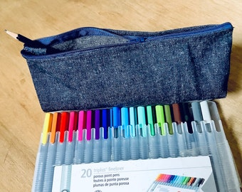 Hemp blue jeans pencil case - organic fabric zippered pouch - back to school stationary accessories