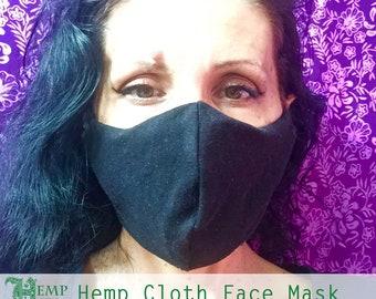 2 layers Hemp Face Mask - Black - Pocket insert - Organic Cotton - Adults/Kids - Anti-Bacterial - Washable