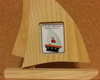 SALE - Craftwood Unfinished Pinewood Sail Boat #9163-38