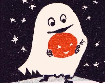 Vintage Ghostly Halloween Tile Coaster