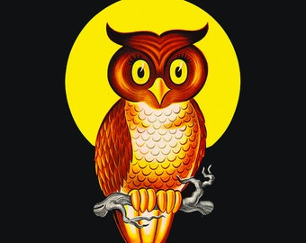 Vintage Owl Moon Halloween Tile Coaster