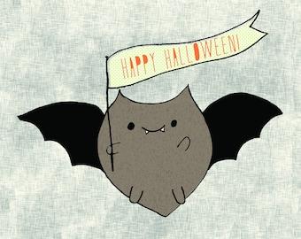 Illustrated Batsy Halloween Tile Coaster