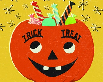 Illustrated Trick or Treat Tile Coaster