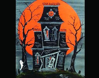 Vintage Haunted House Halloween Tile Coaster