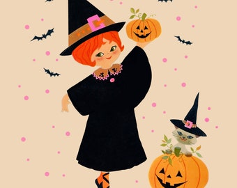 Vintage Fancy Witch Tile Coaster