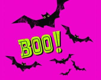 Illustrated Boo Bats Halloween Tile Coaster