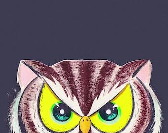 Vintage Owl Eyes Halloween Tile Coaster