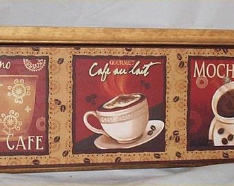 Coffee Wood Wall Shelf Mocha Cappuccino Cafe Home Decor Kitchen Solid Wood Shelf