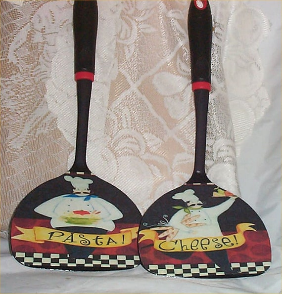 Fat Chef Large Black Wall Utensils Cheese Decor Kitchen Etsy