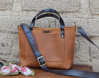 Mini Crossbody Tote Bag  Small Leather Tote Bag  Ready to Ship  Convertible Little Tote / Hand Stitched leather bag