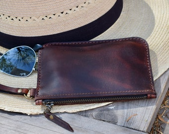 Small Leather Zippered Wallet  Small Zipper Pouch  Change Purse  Hand Stitched  Leather Change Bag Father's Day