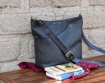 Leather Crossbody Bag  Simple Bucket Purse  Hobo Bucket Bag  Handmade Leather Shoulder Bag   Soft Black leather satchel Bag
