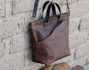 Brown Leather Crossbody Bag / Simple Bucket Purse / READY to Ship / Handmade Leather Shoulder Bag / Rustic leather Zipper Bag