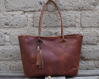 Large Leather Tote Bag / Hand stitched leather Bag / Russet Brown Tote / Everyday Leather Tote Market Tote