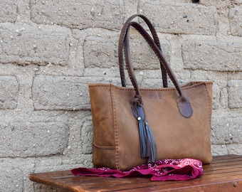 Large Leather Tote Bag / Hand stitched leather Bag / Cocoa Brown Tote / Everyday Leather Tote Market Tote
