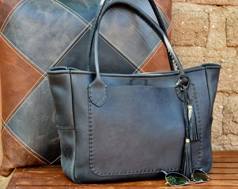 Large Black Leather Tote Bag / Hand stitched leather Bag /Black Horween Leather Tote / Everyday Leather Tote Market Tote