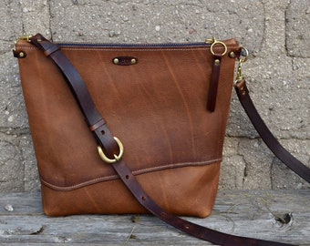 Tan Leather Crossbody Bag   READY to Ship   Simple Bucket Purse   Handmade  Leather Shoulder Bag   Rustic leather Zipper Bag 9b8d6a912c3bc