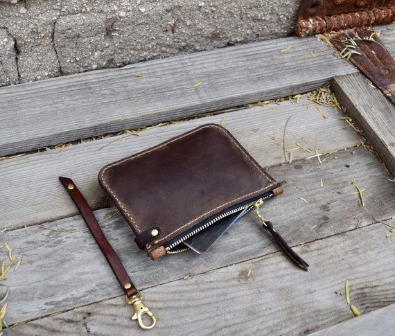 Small Leather Zippered Wallet  Small Zipper Pouch  Change Purse  Hand Stitched  Leather Coin PurseFather/'s Day