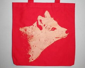 fox bag, red tote bag, gold fox tote, silkscreened bag, screenprinted - Unisex