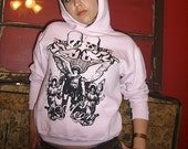 1AEON light pink pullover hoodie with a Pegasus, Skulls and Angels girls S\/M