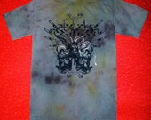 1AEON hand dyed mens tee with Angels and Skulls -size S