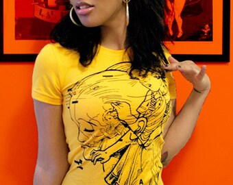 1AEON -NEW- yellow metamorph women's tee  - size womens M - OOAK