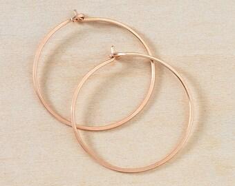 Rose Gold Hoop Earrings, Medium Classic Hoops in Pink Gold, Simple Minimalist Rose Gold Earrings, Perfect Everyday Earrings, Gift for Her