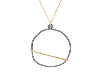 Circle Edgy Necklace, Mixed Metal Cool Necklace, Handmade Hammered Modernist Jewelry with gold filled dainty chain