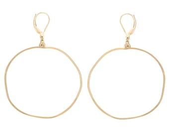 Large Circle Earrings, Leverback Earrings, Large Lightweight Earrings, Statement Earrings, Handmade Gold Filled Sterling silver