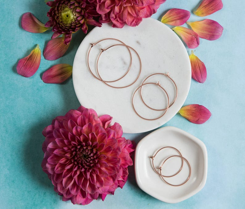Rose Gold Hoop Earrings, Small Pink Gold Circle Earrings, Modern Minimalist  Rose Gold Hoops, Classic Earrings Everyday Pair, Gift for Her