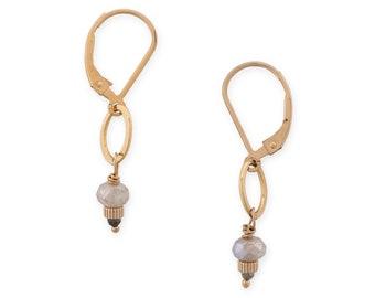 Minimal Dainty Earrings, Hammered Gold & Mercury Glass Tiny Drop Earrings, Small Gold Dangle Earrings, Bridal Jewelry