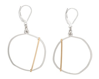 Circle Edgy Earrings, Mixed Metal Cool Earrings, Popular Right Now Modernist Jewelry with sterling silver leverback