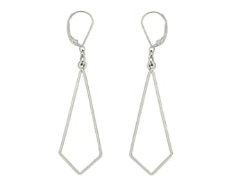 Geometric Shape Thin Line Earrings, Minimal Prism Earrings in sterling silver or gold filled, Edgy Earrings, Popular Right Now