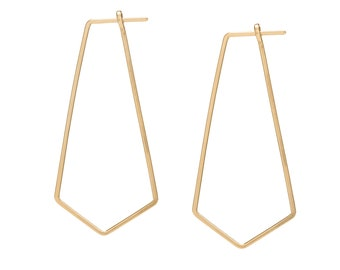 Geometric Thin Hoop Earrings, Hammered Minimal Simple Hoops in sterling silver or gold filled, Edgy Threader Earrings, Popular Right Now