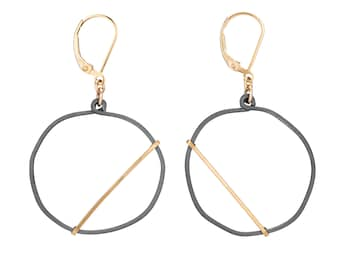 Circle Edgy Earrings, Mixed Metal Cool Earrings, Handmade Hammered Modernist Jewelry with gold filled leverback